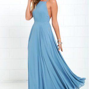Lulu's Mythical Kind of Love Slate Blue Maxi Dress